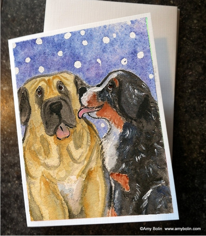 NOTE CARDS · LITTLE KISS · BERNESE MOUNTAIN DOG, MASTIFF · AMY BOLIN
