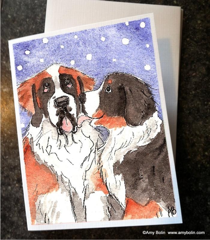 NOTE CARDS · LITTLE KISS · BERNESE MOUNTAIN DOG, SAINT BERNARD · AMY BOLIN