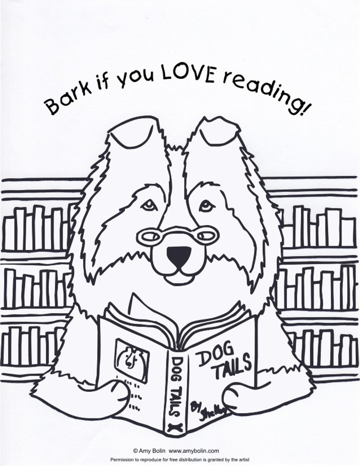 """FREE COLORING SHEET DOWNLOAD · """"Dog Tails Vol 3"""" BARK IF YOU LOVE READING · SHELTIE · AMY BOLIN"""