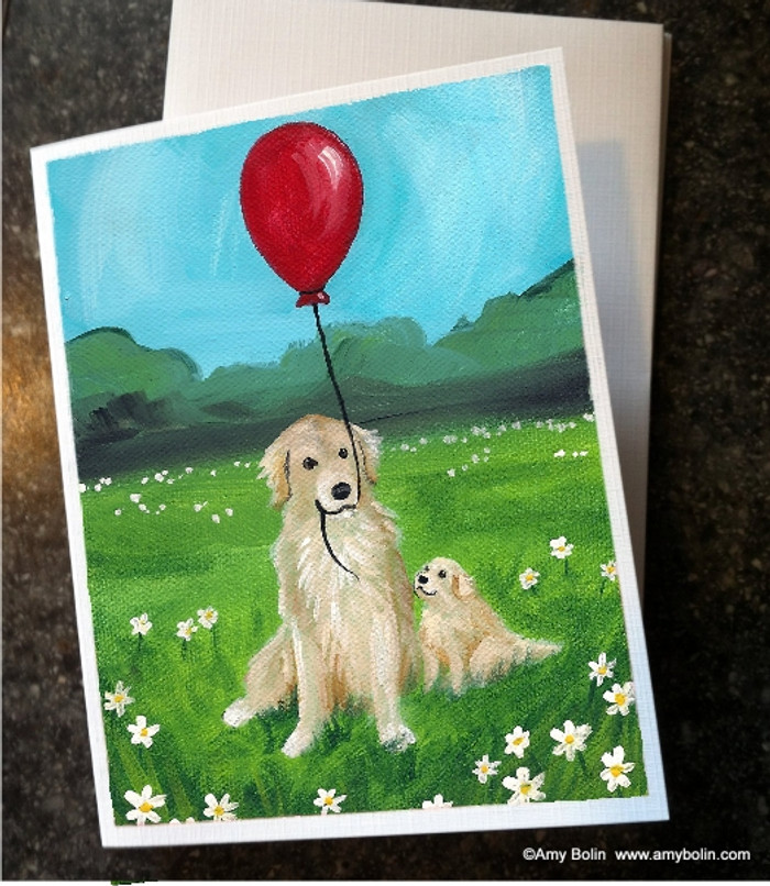 NOTE CARDS · A GOLDEN AFTERNOON · GOLDEN RETRIEVER · AMY BOLIN