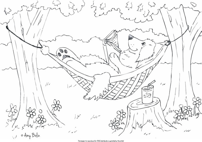 """FREE COLORING SHEET DOWNLOAD · """"Summer Is For Reading"""" · GOLDEN RETRIEVER · AMY BOLIN"""