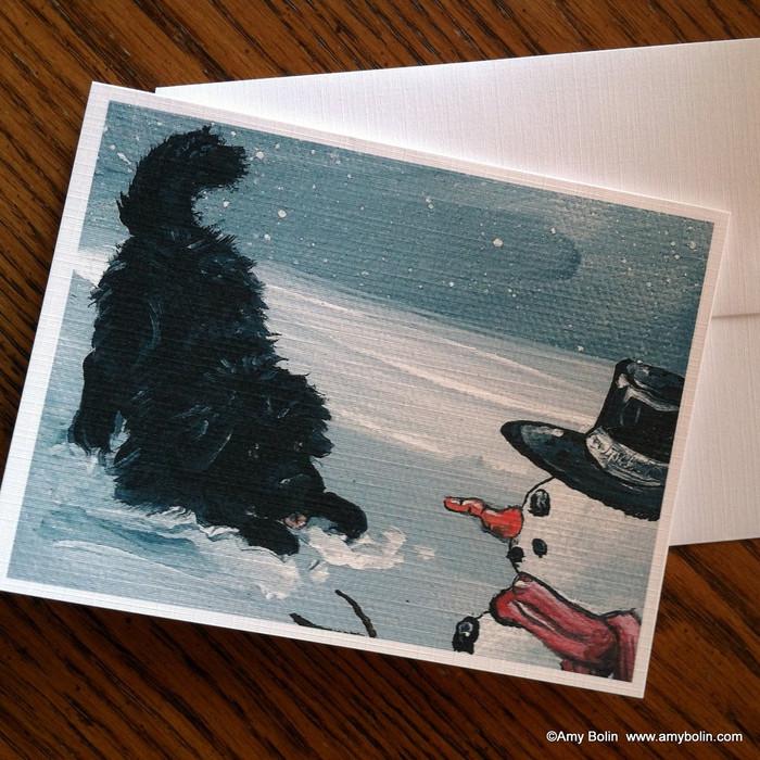 NOTE CARDS · MY SNOWY FRIEND · BLACK NEWFOUNDLAND · AMY BOLIN