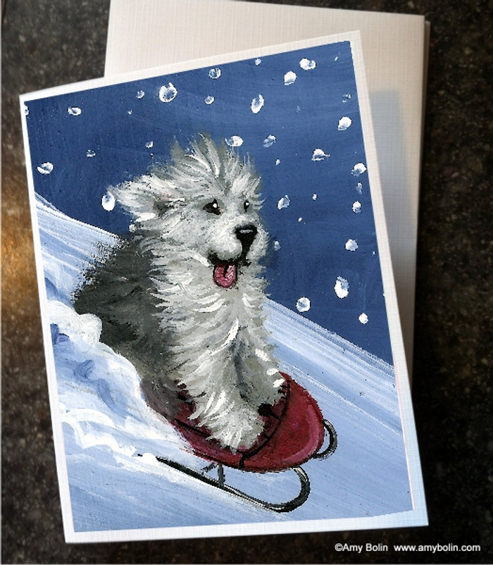 NOTE CARDS · THE SLED RIDE · OLD ENGLISH SHEEPDOG · AMY BOLIN