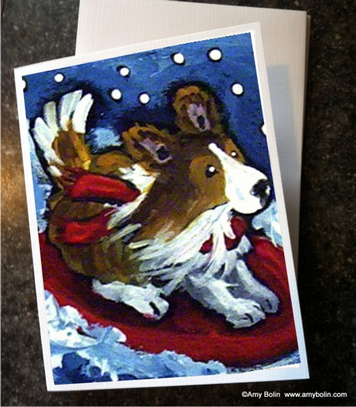 NOTE CARDS · A SNOWY RIDE · SABLE SHELTIE · AMY BOLIN