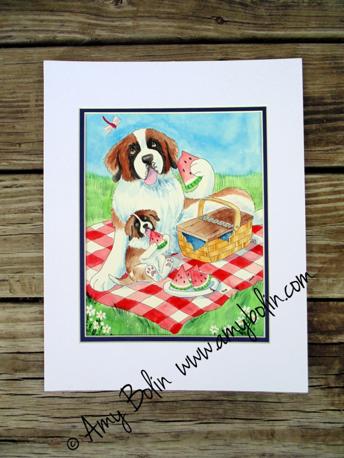 """""""The Sweet Taste Of Summer"""" Saint Bernard dog & puppy Original ART Watercolor Painting 8"""" by 10"""" with mat to fit 11"""" by 14"""" frame Artist Amy Bolin"""