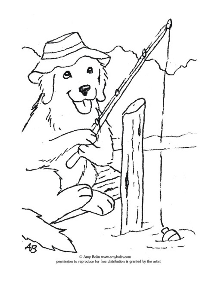 """FREE COLORING SHEET DOWNLOAD · """"Gone Fishing"""" · GOLDEN RETRIEVER · AMY BOLIN"""