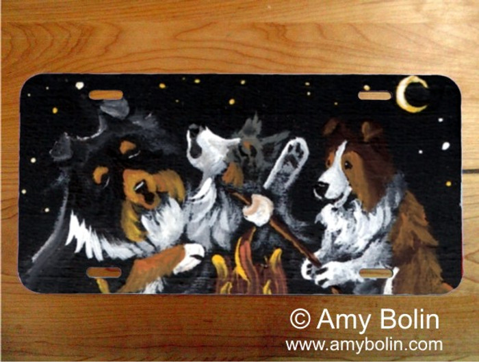 LICENSE PLATE · SHELTIES AROUND THE CAMPFIRE · BLUE MERLE, SABLE, TRI COLOR SHELTIE · AMY BOLIN