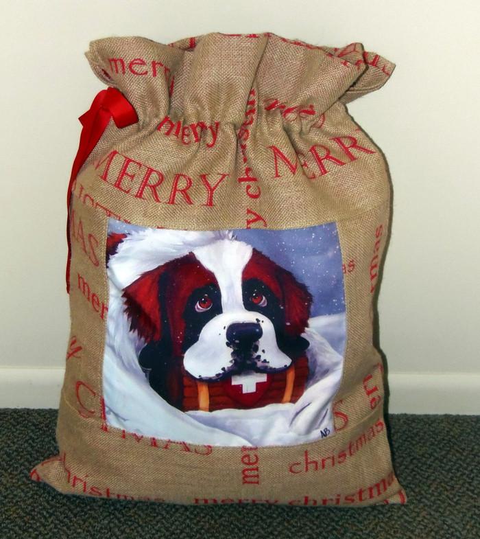 "LARGE 20"" by 27"" Handmade Christmas Gift Bag   ""Break Time""   Saint Bernard  By Dawn Johnson"