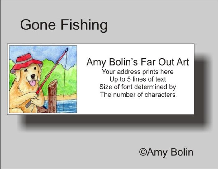 ADDRESS LABELS · GONE FISHING · GOLDEN RETRIEVER · AMY BOLIN