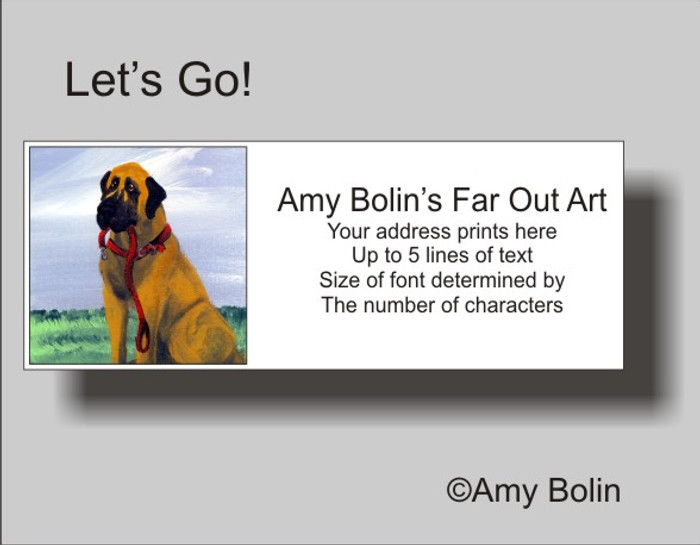 ADDRESS LABELS · LET'S GO! · GREAT DANE · AMY BOLIN