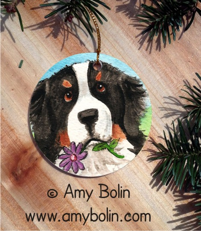 CERAMIC ORNAMENT · I SAW THIS FLOWER · BERNESE MOUNTAIN DOG · AMY BOLIN