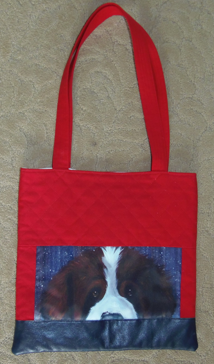 "Handmade quilted Purse/Tote  ""'Winter Saint""   Saint Bernard   By Dawn Johnson"