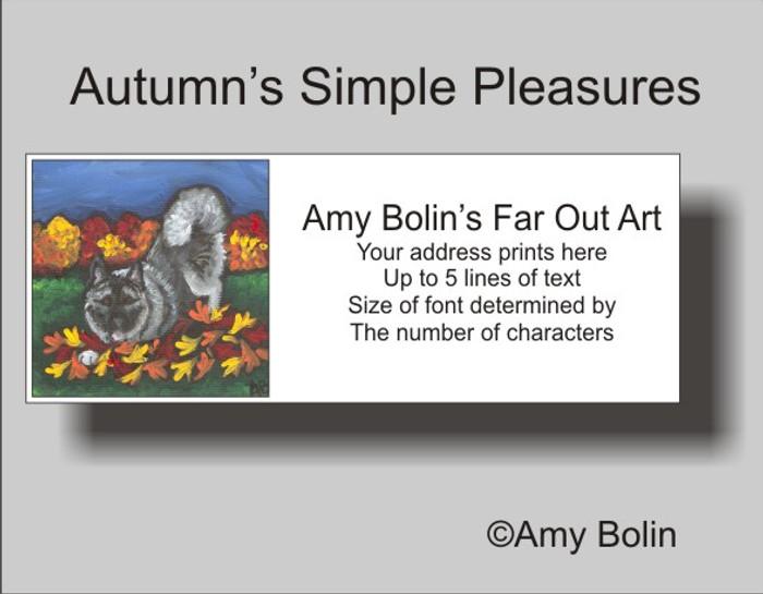ADDRESS LABELS · AUTUMN'S SIMPLE PLEASURES · NORWEGIAN ELKHOUND · AMY BOLIN