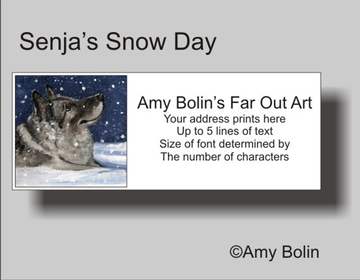 ADDRESS LABELS · SENJA'S SNOW DAY · NORWEGIAN ELKHOUND · AMY BOLIN