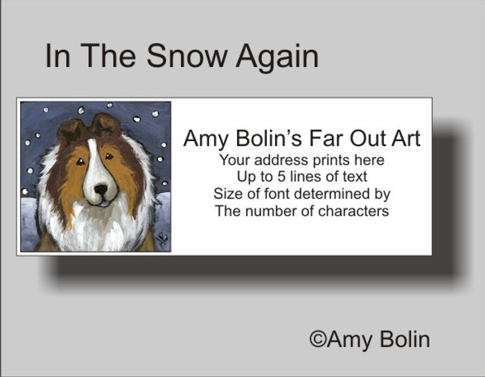 ADDRESS LABELS · IN THE SNOW AGAIN · SABLE SHELTIE · AMY BOLIN
