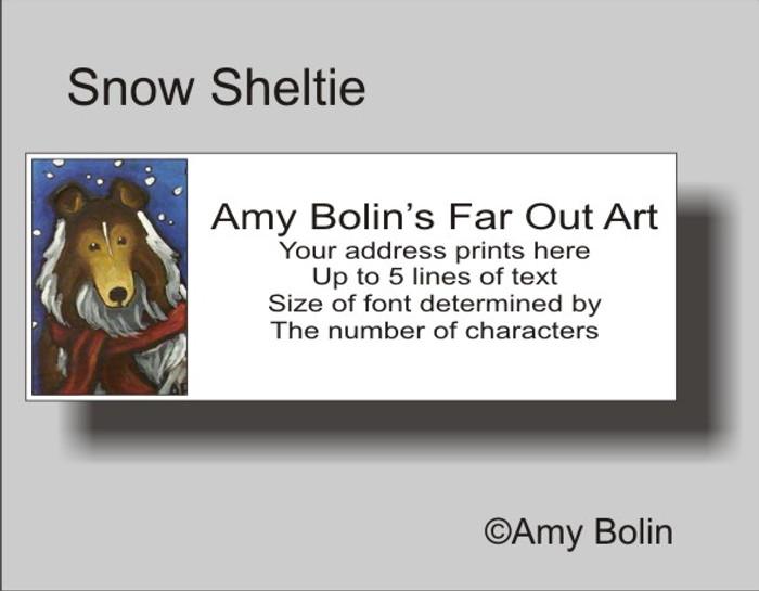 ADDRESS LABELS · SNOW SHELTIE · SABLE SHELTIE · AMY BOLIN