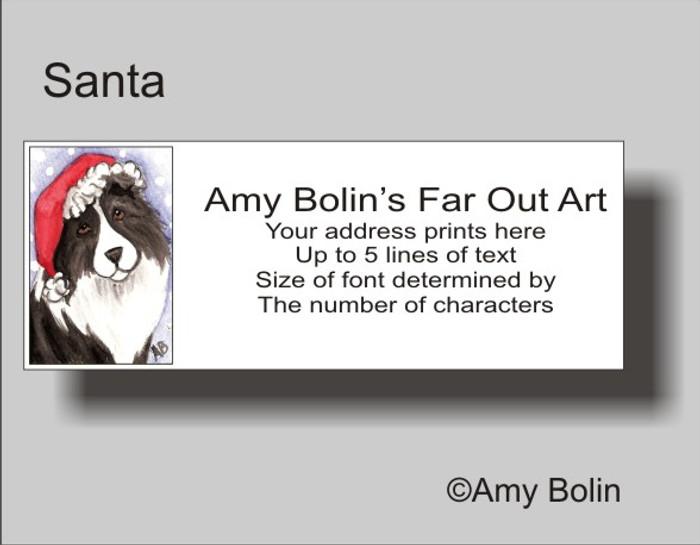 ADDRESS LABELS · SANTA · BI BLACK SHELTIE · AMY BOLIN