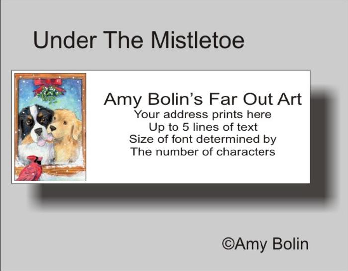 """Under The Mistletoe"" Bernese Mountain Dog, Golden Retriever Address Labels"
