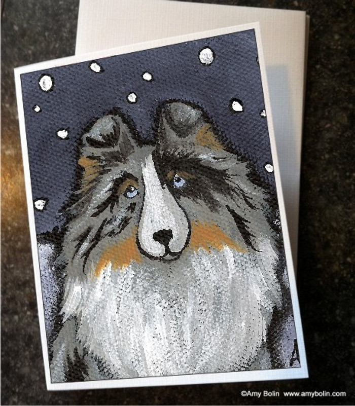 NOTE CARDS · IN THE SNOW AGAIN · BLUE MERLE SHELTIE · AMY BOLIN