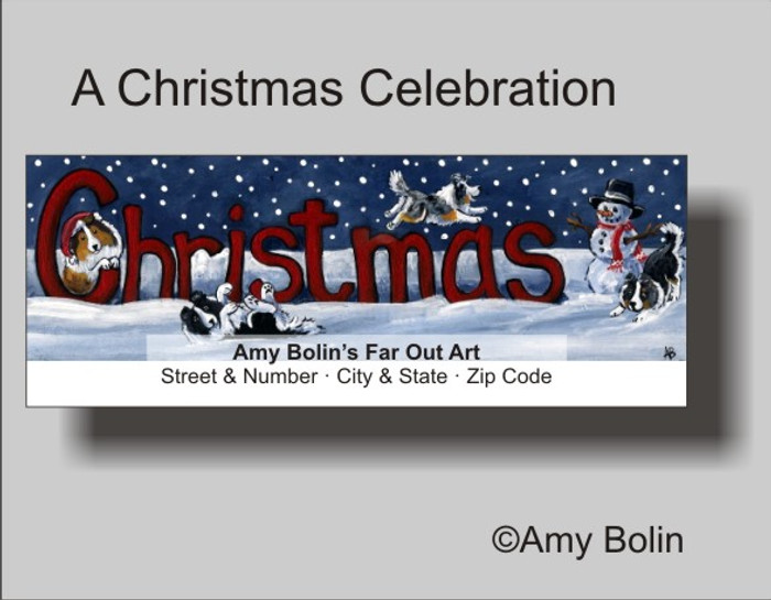 ADDRESS LABELS · A CHRISTMAS CELEBRATION · BI BLACK, BI BLUE, BLUE MERLE, SABLE, TRI COLOR SHELTIES · AMY BOLIN