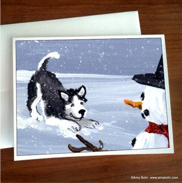 NOTE CARDS · MY SNOWY FRIEND (BLACK WITH BLUE EYES) · HUSKIES & MALAMUTES · AMY BOLIN