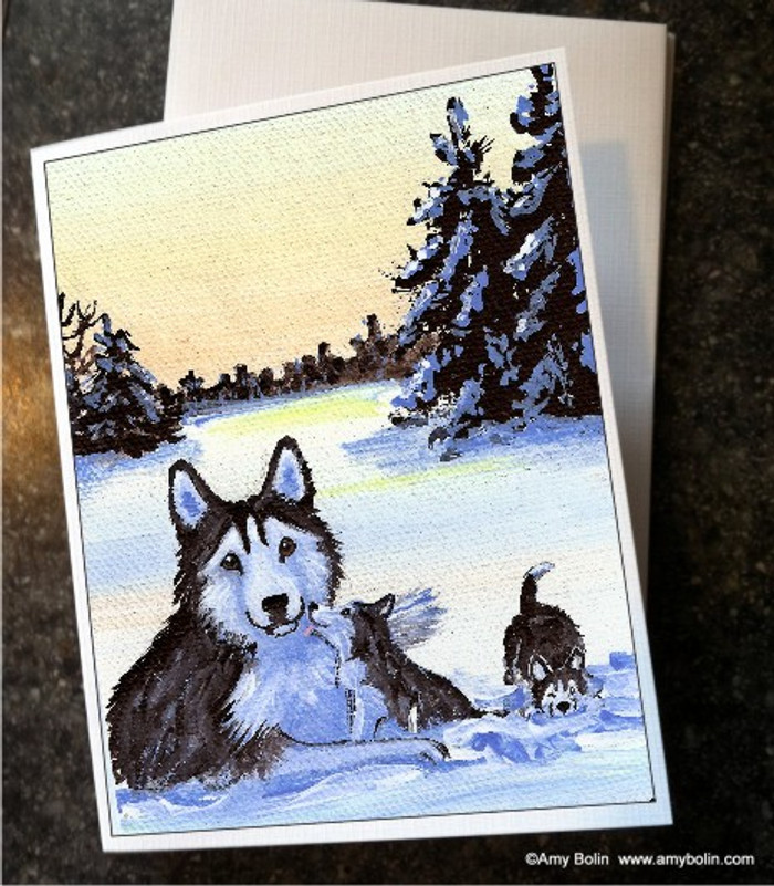 NOTE CARDS · WINTER MORNING (BROWN EYES) · HUSKIES & MALAMUTES · AMY BOLIN