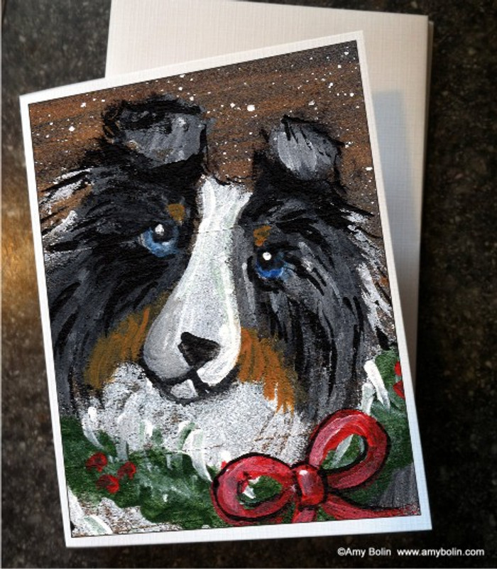 NOTE CARDS · CHRISTMAS TRADITIONS · BLUE MERLE SHELTIE · AMY BOLIN