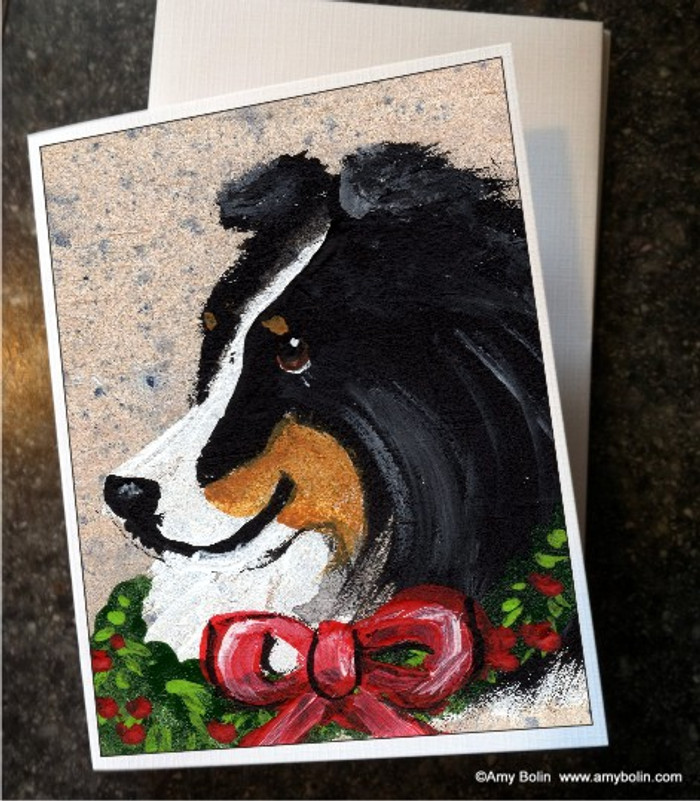 NOTE CARDS · CHRISTMAS TRADITIONS · TRI COLOR SHELTIE · AMY BOLIN
