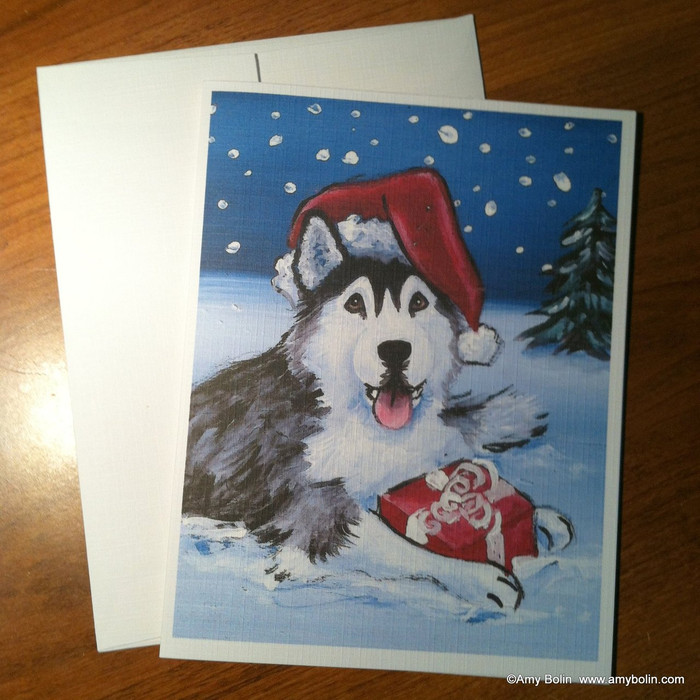 NOTE CARDS · MERRY CHRISTMAS (BROWN EYES) · HUSKIES & MALAMUTES · AMY BOLIN