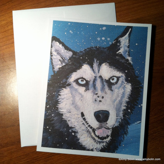 NOTE CARDS · RIVA'S SNOW DAY (BLUE EYES ONLY) · HUSKIES & MALAMUTES · AMY BOLIN