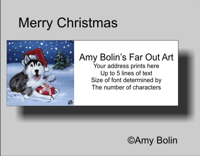 ADDRESS LABELS · MERRY CHRISTMAS (BROWN EYES) · HUSKIES & MALAMUTES · AMY BOLIN