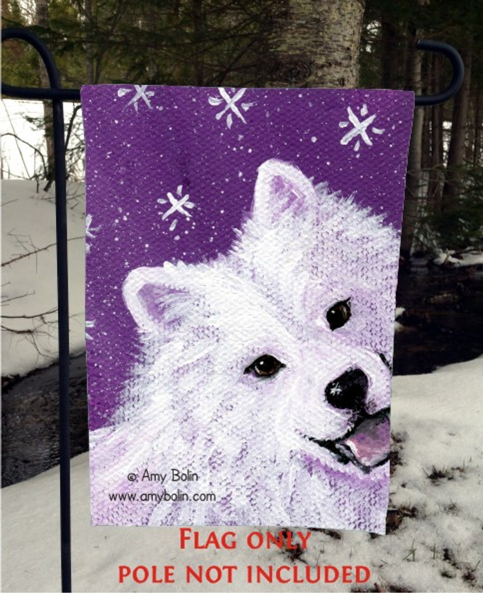 GARDEN FLAG · WISH UPON A SNOWFLAKE · SAMOYED · AMY BOLIN