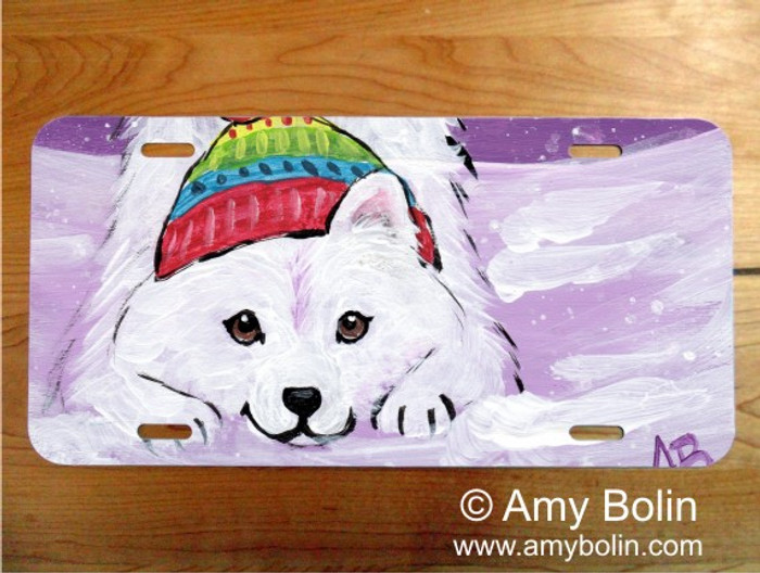 LICENSE PLATE · PLAYFUL PUP · SAMOYED · AMY BOLIN