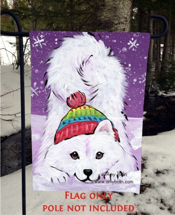 GARDEN FLAG · PLAYFUL PUP · SAMOYED · AMY BOLIN