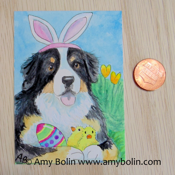 """Easter Bernie"" Bernese Mountain Dog Original Painting Watercolor ACEO by Amy Bolin"