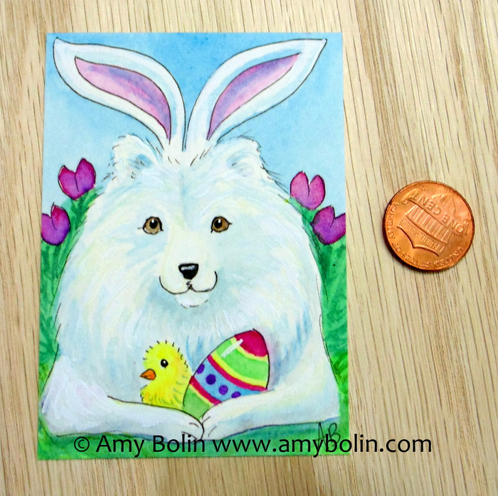 """Easter Sammy"" Samoyed Original Painting Watercolor ACEO by Amy Bolin"
