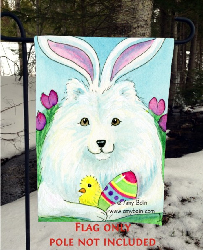 GARDEN FLAG · EASTER SAMMY · SAMOYED · AMY BOLIN
