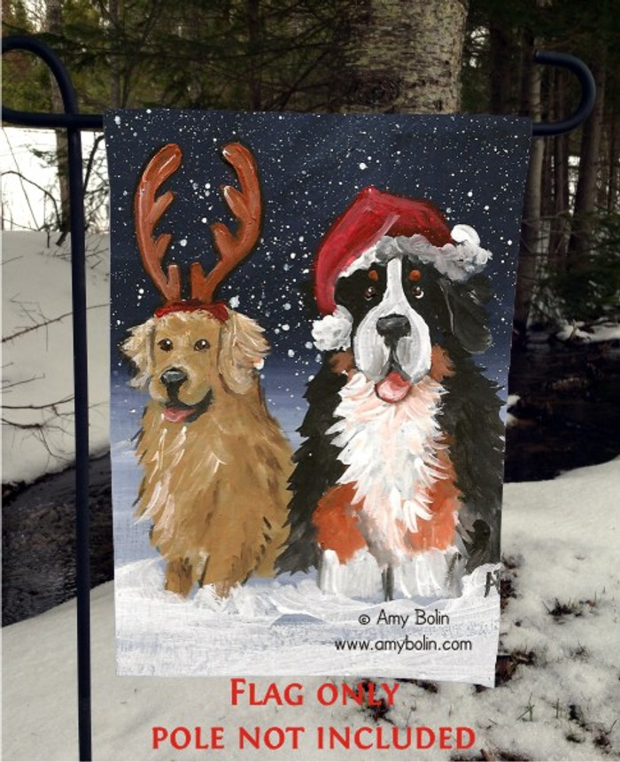 GARDEN FLAG · CHRISTMAS BUDDIES  · BERNESE MOUNTAIN DOG, GOLDEN RETRIEVER · AMY BOLIN