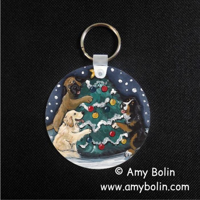 KEY CHAIN · CHRISTMAS TOGETHER · BERNESE MOUNTAIN DOG, GOLDEN RETRIEVER, MASTIFF · AMY BOLIN