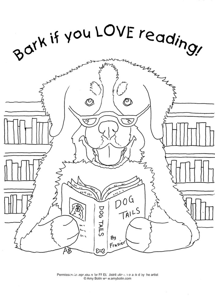 """FREE COLORING SHEET DOWNLOAD · """"Dog Tails Vol 4"""" BARK IF YOU LOVE READING · BERNESE MOUNTAIN DOG · AMY BOLIN"""
