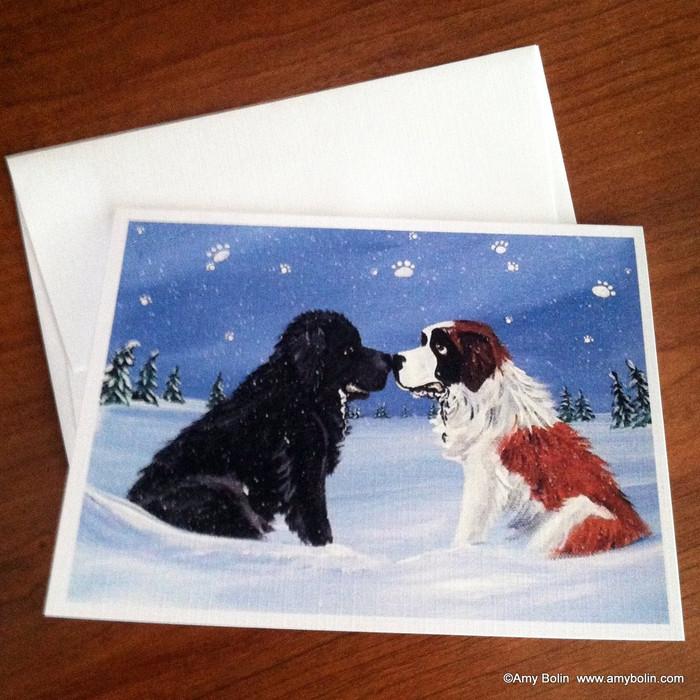NOTE CARDS · A COLD, WET HELLO · BLACK NEWFOUNDLAND, SAINT BERNARD · AMY BOLIN