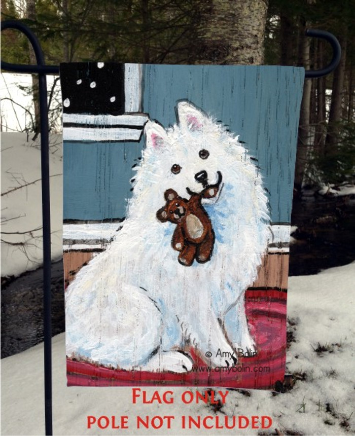 GARDEN FLAG · BEDTIME BUDDIES · SAMOYED · AMY BOLIN