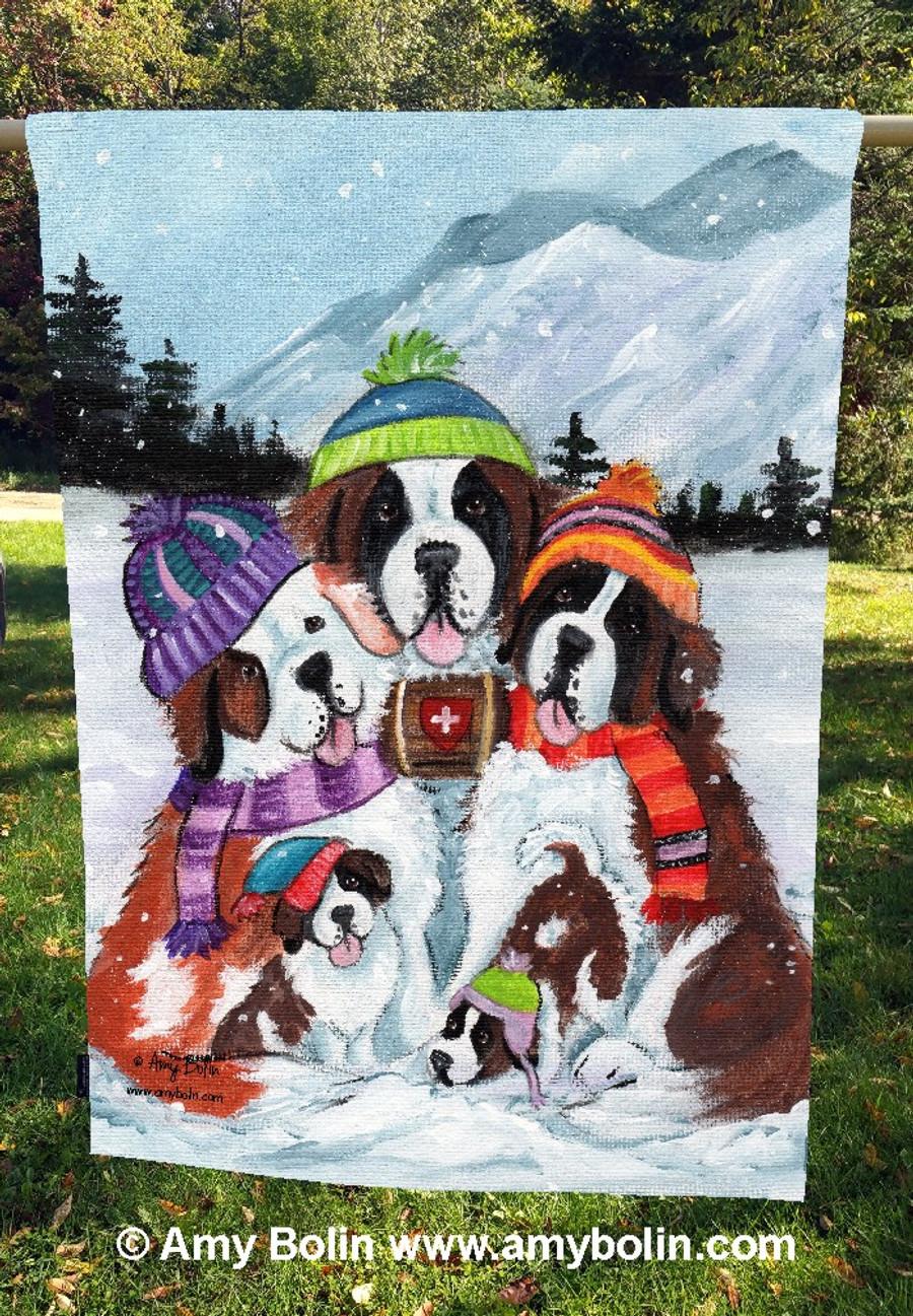 """Generations"" Saint Bernard Dogs by Amy Bolin · House Flag"