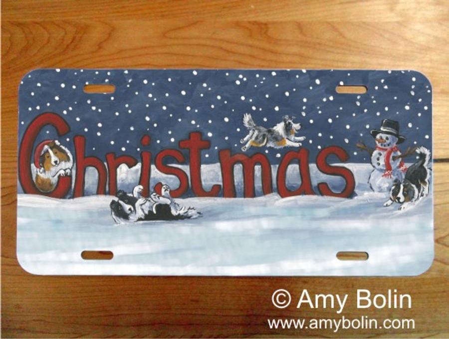LICENSE PLATE · A CHRISTMAS CELEBRATION · BI BLACK, BLUE MERLE, SABLE, TRI COLOR SHELTIE · AMY BOLIN