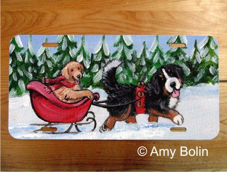 LICENSE PLATE · A WINTRY RIDE · BERNESE MOUNTAIN DOG, GOLDEN RETRIEVER · AMY BOLIN