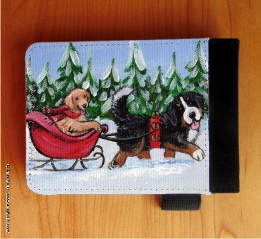 NOTEBOOKS (SEVERAL SIZES AVAILABLE) · A WINTRY RIDE · BERNESE MOUNTAIN DOG, GOLDEN RETRIEVER · AMY BOLIN
