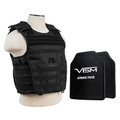 VISM Tactical Body Armor Molle Expert Hard Plate Carrier Vest XL With Level III Plus Hard Ballistic Panels - Black (Rifle Caliber Rated to .308 Win)