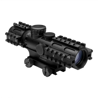 2-7x32 COMPACT SCOPE/3 RAIL SIGHTING SYSTEM/P4 SNIPER/GREEN/WEAVER MOUNT