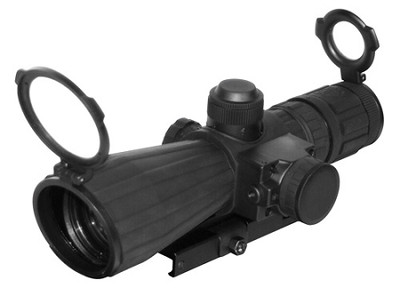 Nc/star SRT Series 4X32 Rubber Compact with Red Laser/Blue ILL./Mil-Dot/Green Lens/Quick Release