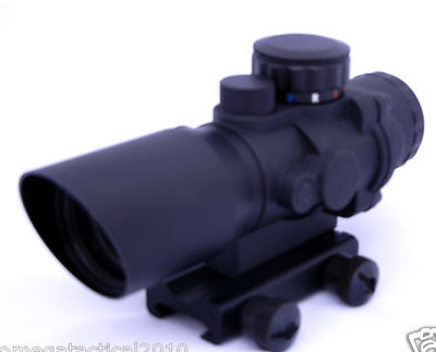 OMEGA MFG Tactical 4x Prismatic Rifle Scope Mil Spec Chevron Reticle